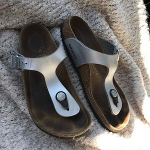 Birkenstock silver sandals shoes 2